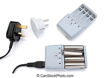 Plug adapter, charger and battery On a white background