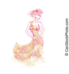 Vector floral fashion girl poster