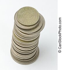 Tower of Saudi Coins Currency - Collection of Saudi Coins...