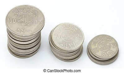 Towers of Saudi Coins Currency - Collection of Saudi Coins...