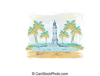 Retro background with lighthouse