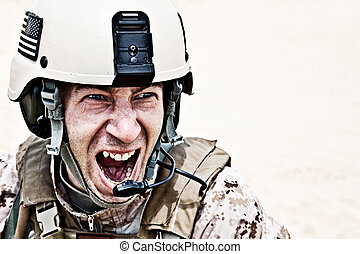 frightening - Scary face of US marine in the marpat uniform...