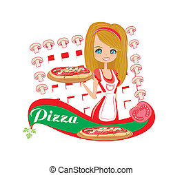 sweet girl serving pizza