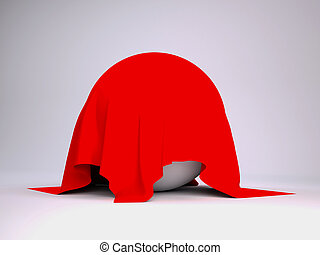 Ball covered with red cloth. render studio