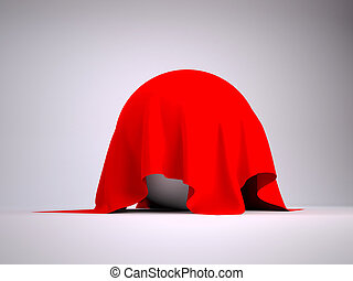 Ball covered with red cloth render studio