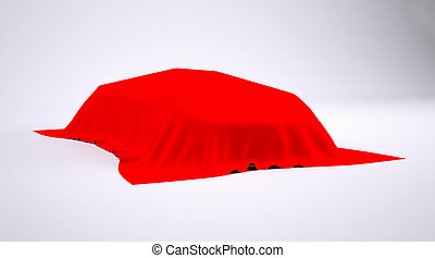 Car covered with red cloth. render studio