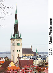 Old town. Tallinn, Estonia - View of St Olaf (Oleviste)...