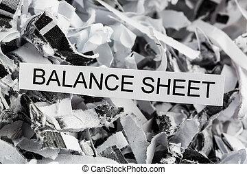 scraps balance sheet - shredded paper tagged with balance...