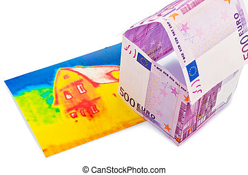 house from euro; banknotes and infrared image - a house...