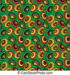 Easter holiday pattern of colorful eggs on a black...