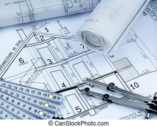 a house plan - an architect's blueprint for the construction...