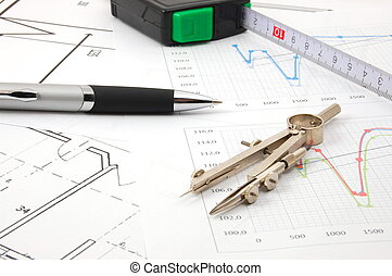 plans for architecture - architecture or business still life...
