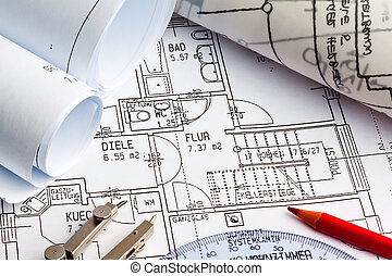 blueprint of a house. construction - blueprint for a house....