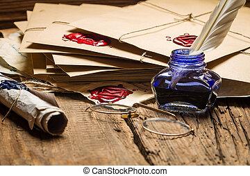 Primer plano, azul, tintero, anteojos, tabla, llenado,...