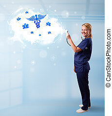 Young doctor with abstract cloud and medical icons
