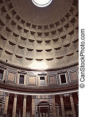Pantheon in Rome, Italy. - Interior view of the dome of the...