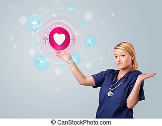 Young nurse pressing modern medical type of buttons