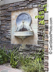 Tuscan Style Wall Water Fountain in Courtyard - Tuscan Style...