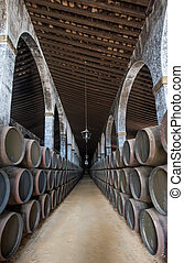 Sherry barrels in Jerez bodega, Spain