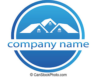 Houses logo blue icon background vector