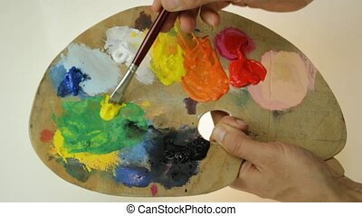 palette - traditional artist's palette, green shades