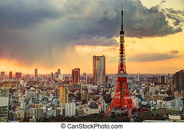 Tokyo Tower and Skyline - Skyline of Tokyo, Japan at Tokyo...