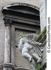 Angel - Baroque angel in a wall's corner of Rome