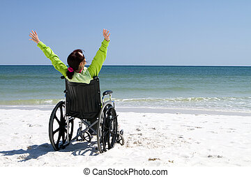 Woman Successful Disabled - Woman with arms raised...