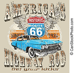 highway rod - illustration for shirt printed and poster