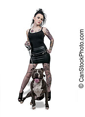 Beautiful Woman and Pit Bull - Beautiful young woman with...