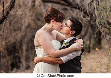 Lesbian Couple Kissing in the Woods - Happy same sex...