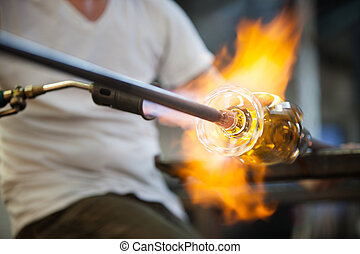 Flames on Fine Art Glass - Blowtorch flames surrounding fine...