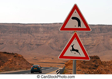 Ramon Crater Makhtesh Ramon - Israel - Road signs at Ramon...