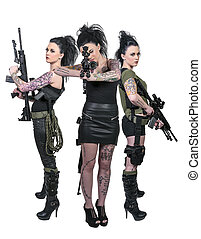 Women with Assault Rifles - Beautiful young women holding...