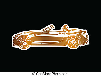 Golden sport car over black paper