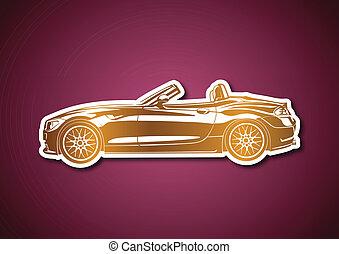 Golden sport car over pink paper