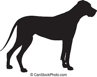 Great Dane Silhouette - A Great Dane dog shown in black...