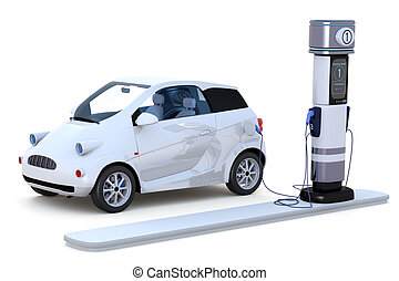Electric Car Charging - 3D render of a compact electric car...