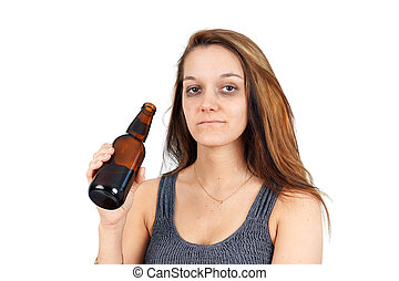 Drunk woman on white - Drunk or alcoholic young woman with...