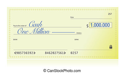 Closeup of Check Made Out for One Million Dollars...