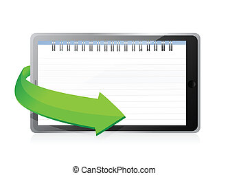 tablet with a notepad ring binder on screen illustration...