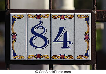 Number 84 digit - Tile numbered door number
