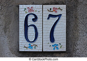 Number 67 digit - Tile numbered door number