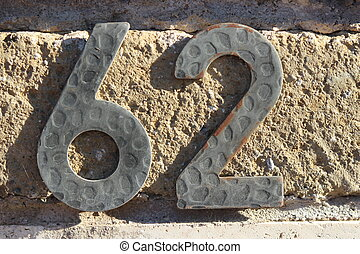 Number 62 digit - Tile numbered door number