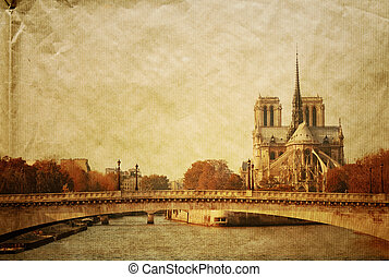retro style Notre Dame Cathedral in paris france (French for...