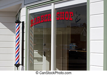 Barber Shop - MANGONUI - APRIL 17:New barber shop window and...