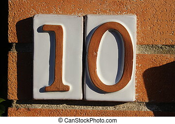 Number 10 (digit) - 10 Tile numbered (door number)
