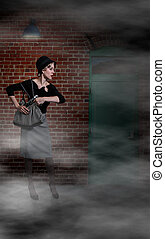 Woman with Gun - Beautiful scared woman pulling out a gun in...