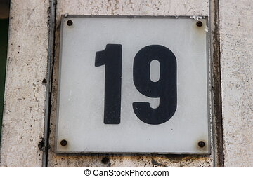 Number 19 (digit) - 19 Tile numbered (door number)