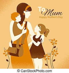 Beautiful mother silhouette with her children. Cards of...